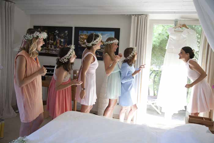 French bride and her bridesmaids