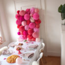 Paper lanterns wall to celebrate Valentine's day