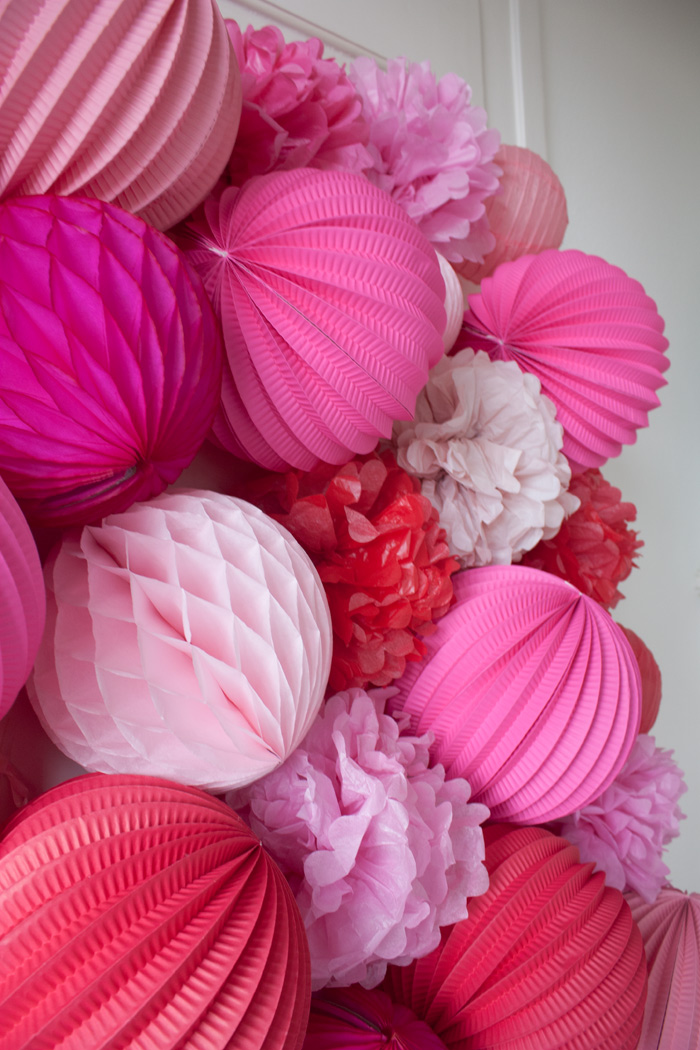 Paper lanterns wall for Valentine's decor
