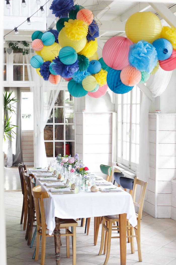 décor guirlande centre table mariage lanterne lampion