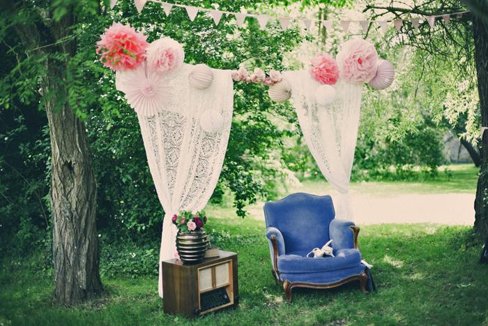 photobooth mariage jardin pompon rose