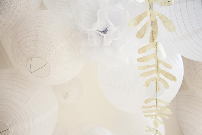 ciel mariage lanterne blanc guirlande feuille