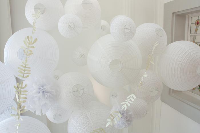 ciel mariage blanc guirlande feuille lanterne