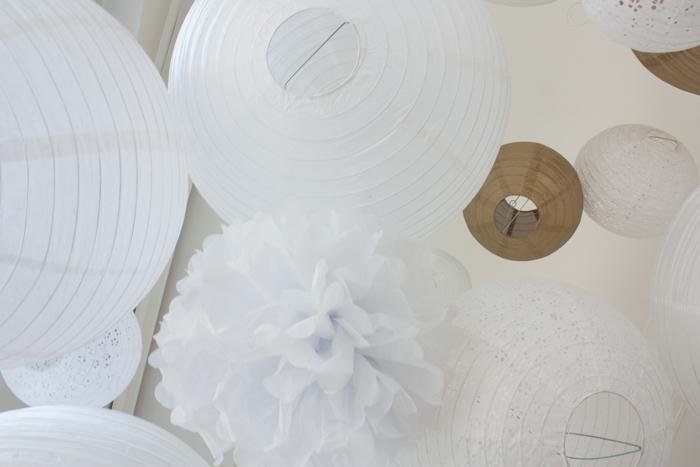 ciel mariage lanterne pompon blanc doré gold