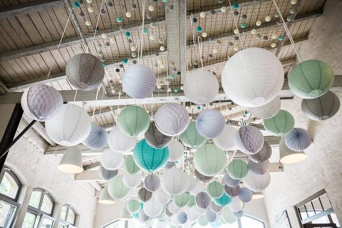 Ciel lanterne lampion mariage pêche gris vert bleu