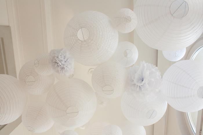 ciel mariage lanterne pompon blanc
