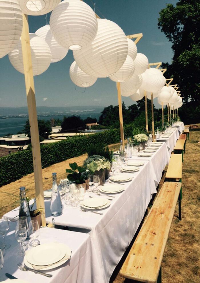 Guirlande table mariage lanterne blanche