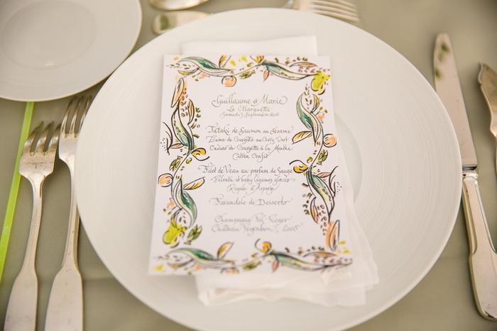 idée d'illustration de menu de mariage