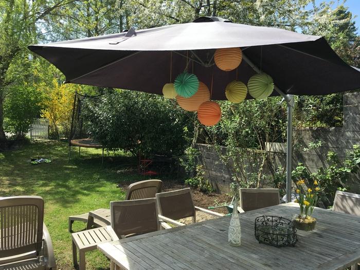 anniversaire jardin déco parasol lanterne lampion