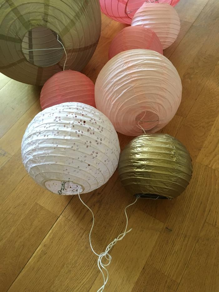 guirlande lanternes chinoises ajourées rose vintage blush gold or