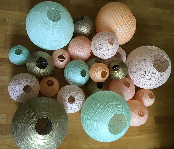 lanternes chinoises ajourées mint vert menthe pêche gold or