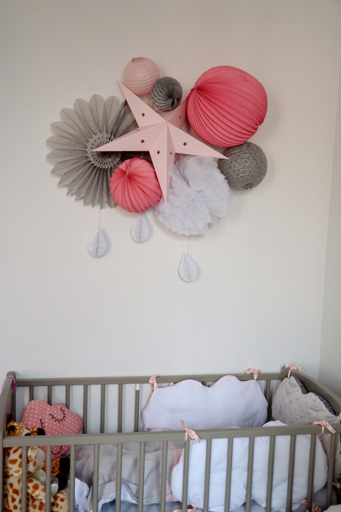 Deco chambre fille rose gris etoile lampion rosace vintage