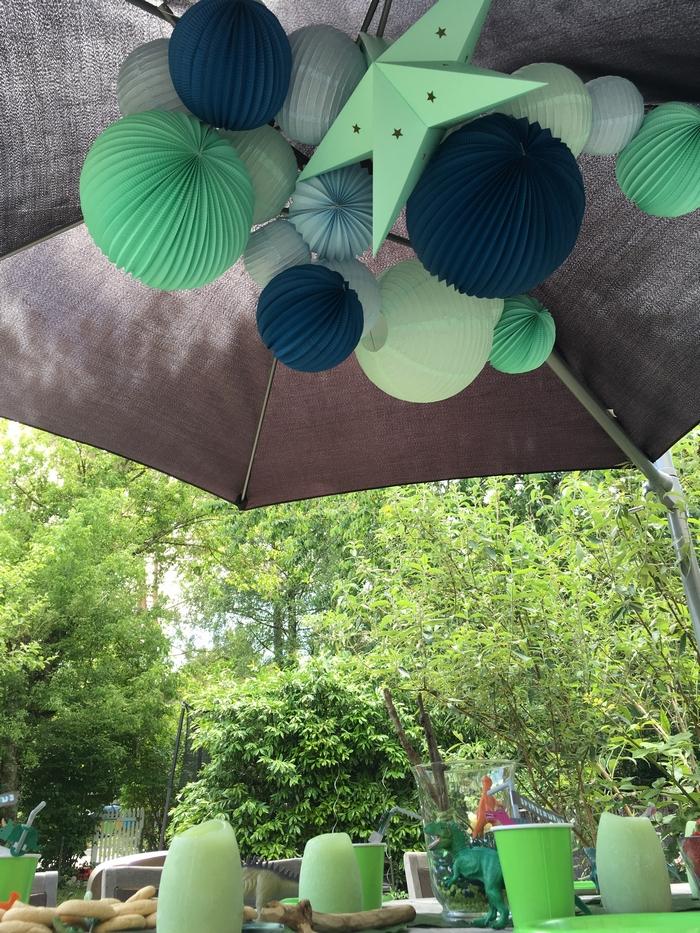 Déco dinos guirlande parasol lanterne lampion vert mint bleu pastel