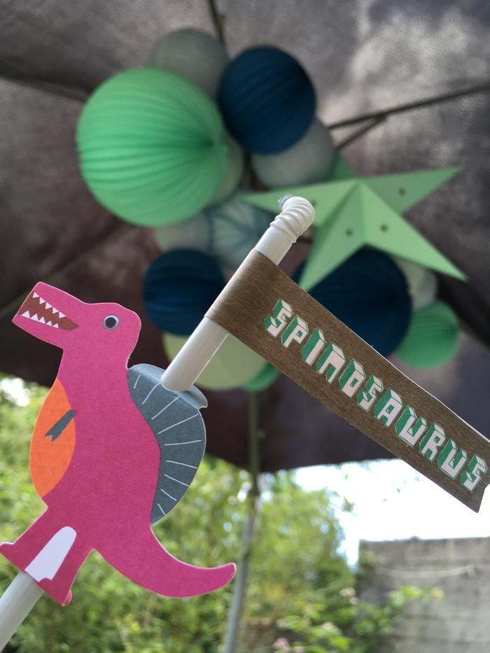 Déco anniversaire dinosaure lanterne lampion vert mint bleu pastel