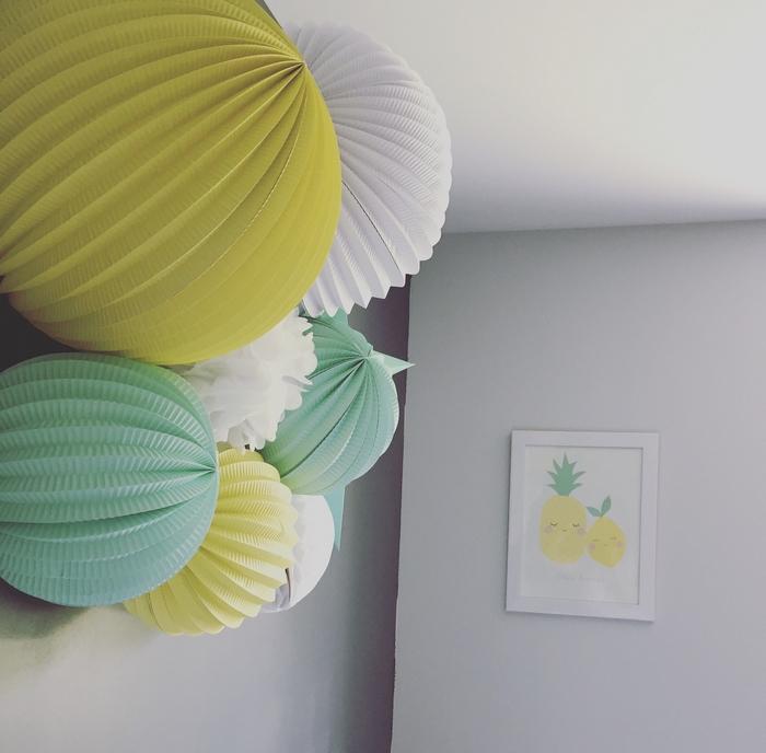 Déco chambre composition lampion vert jaune ananas