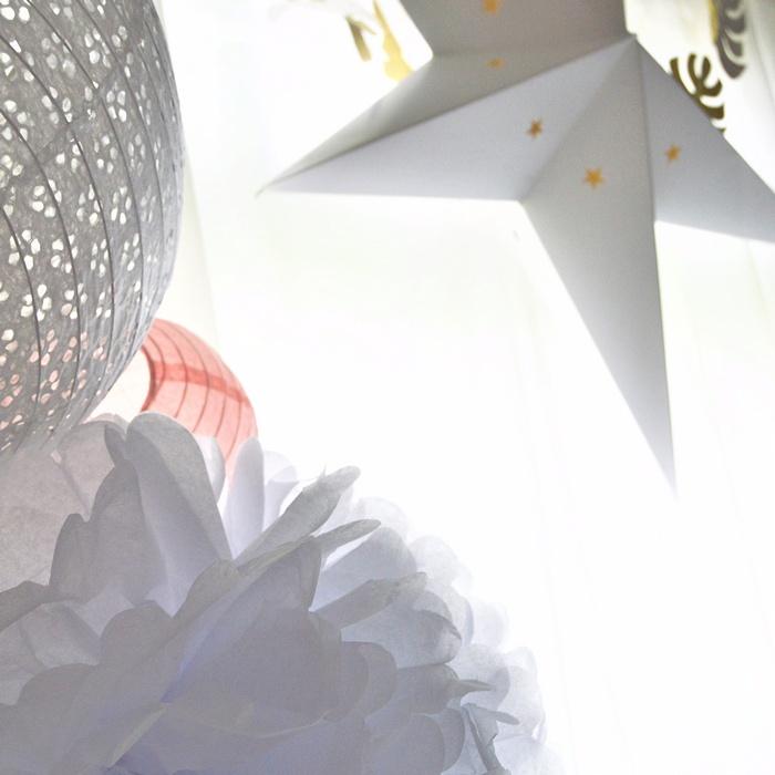 déco anniversaire fille lanterne ajourée blanc étoile guirlande feuilles doré