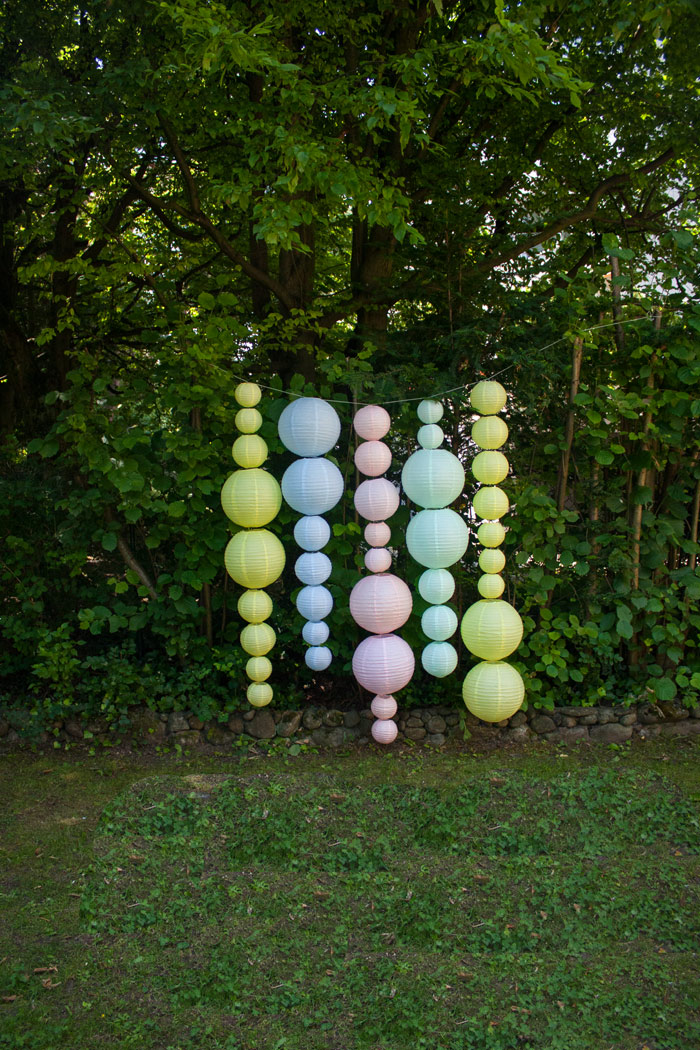 Guirlande décor lanternes pastel mariage photobooth