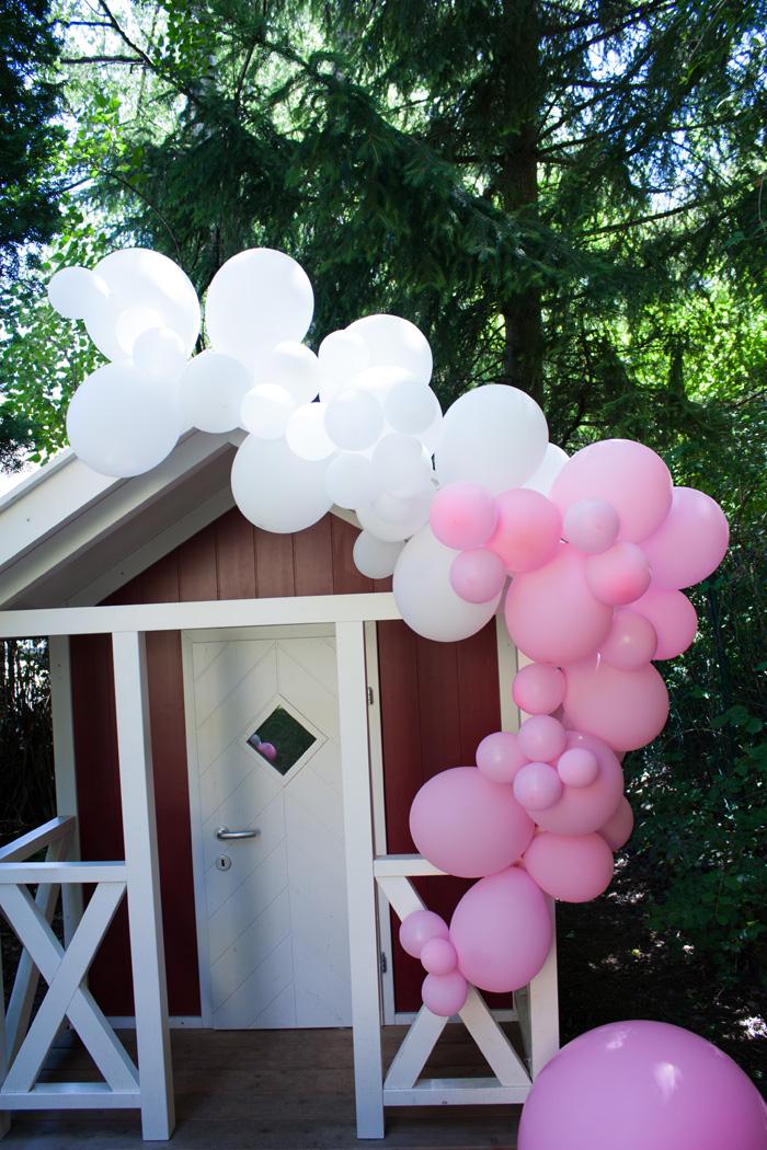 kit Guirlande ballons rose déco fille cabane jardin