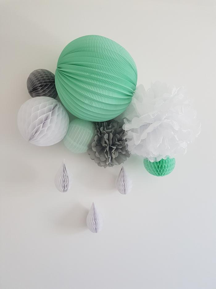 Composition chambre enfant menthe blanc gris