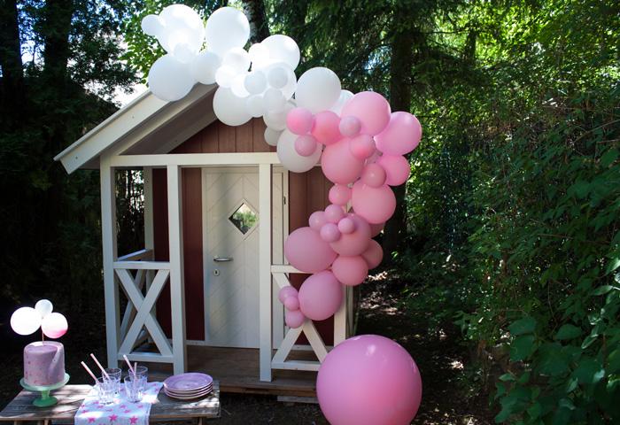 kit Guirlande ballons rose anniversaire fille jardin