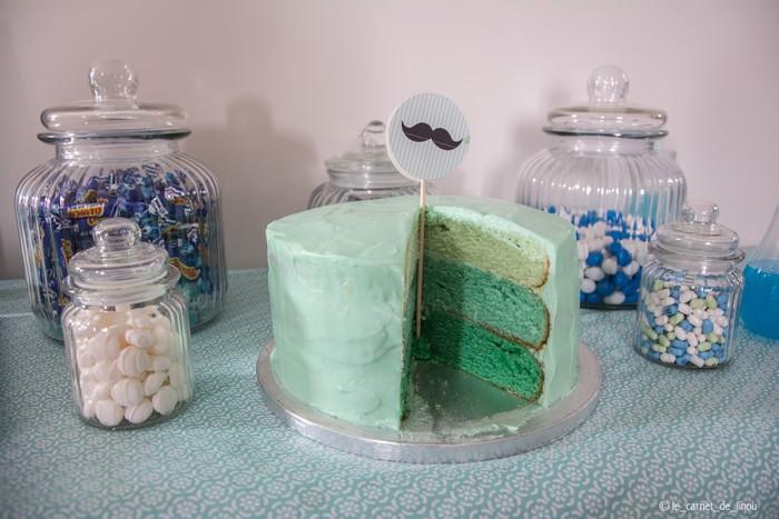 Déco table et gâteau baby shower bleu menthe