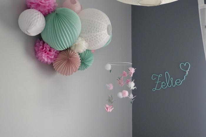 Déco chambre fille lanterne origami papier rose vert menthe
