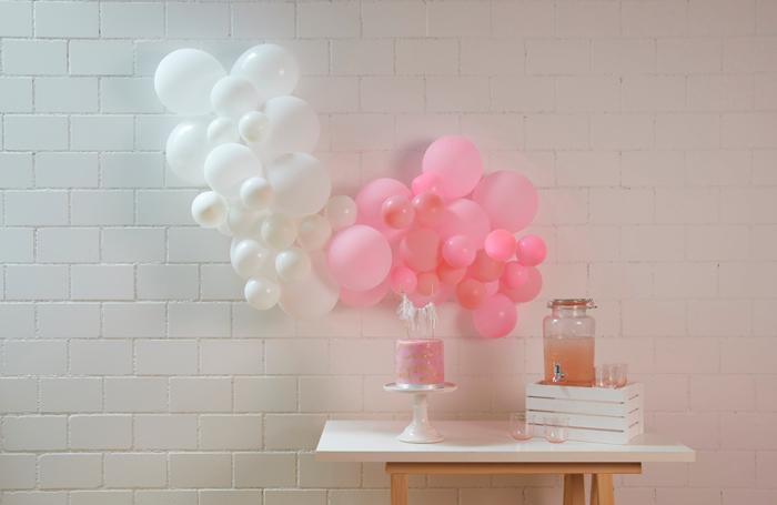 Guirlandes de ballons rose pink pastel, anniversaire fille ou mariage