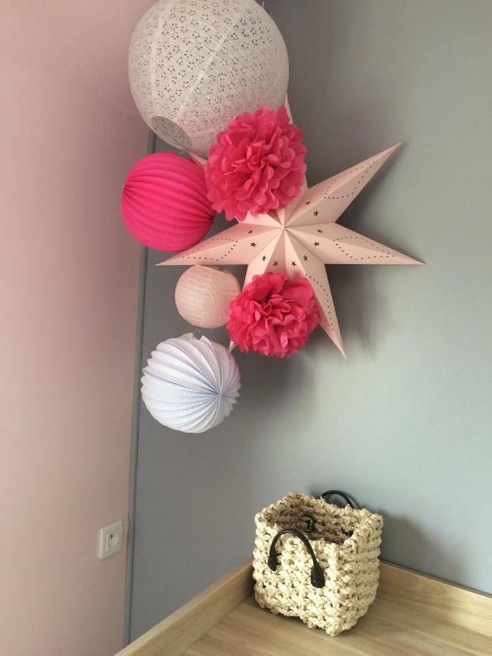 décoration chambre fille étoile pompon rose