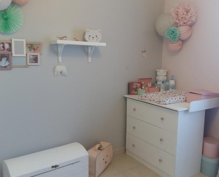 idee deco chambre fille rose pastel gris menthe dentelle