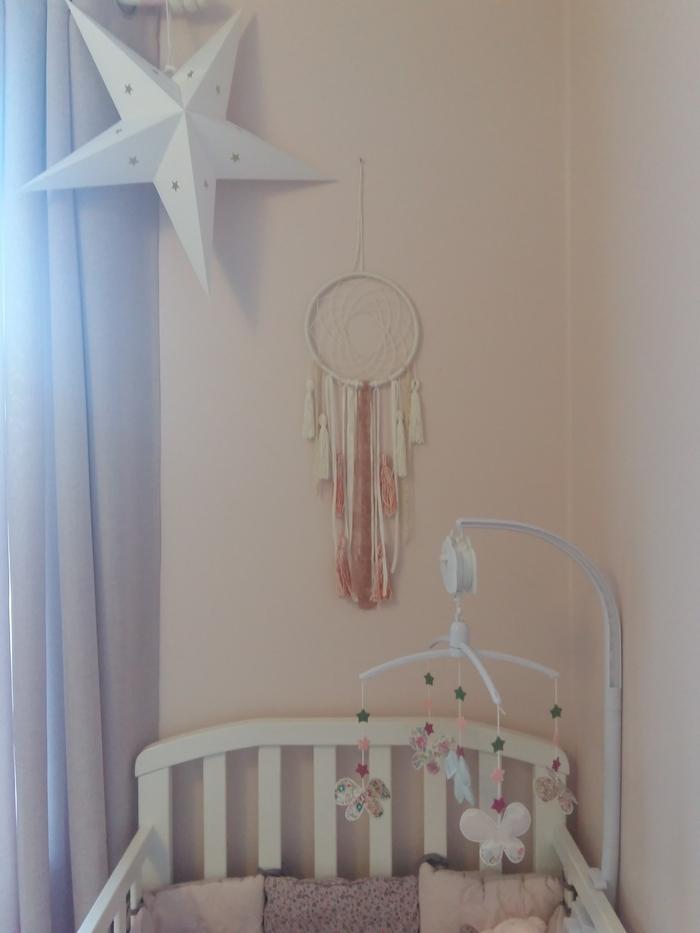 idee deco chambre fille rose pastel etoile blanche