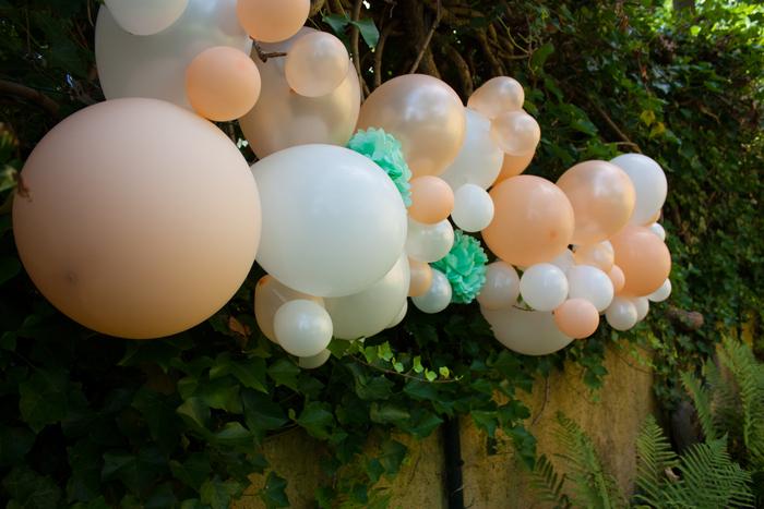 Kit guirlande ballons pêche blanc vert menthe déco fête anniversaire enfant