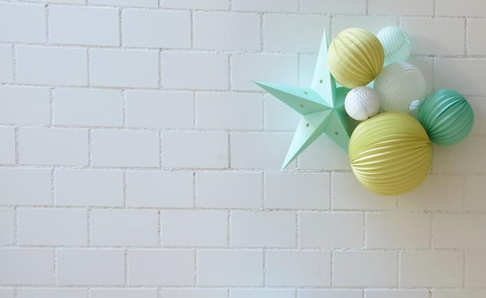 déco chambre enfant kit de lampion charly vert menthe et jaune