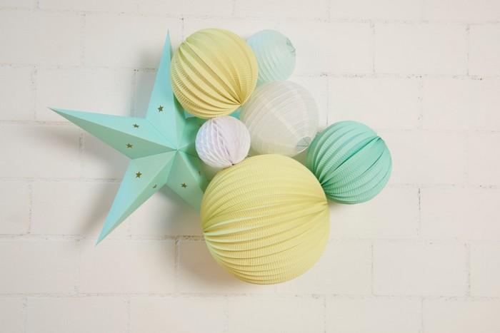 déco chambre enfant kit de lampion charly mint and lemon