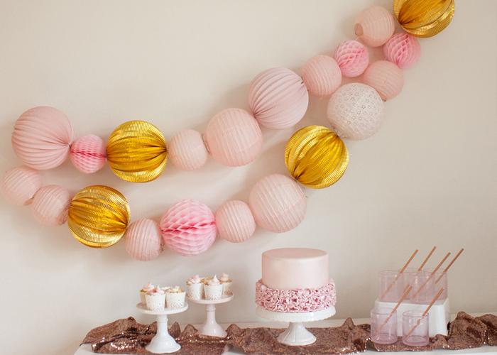 décoration fête rose gold