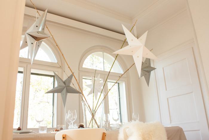 Idée déco table de fêtes pour Noel simple et nature étoiles blanc et argent