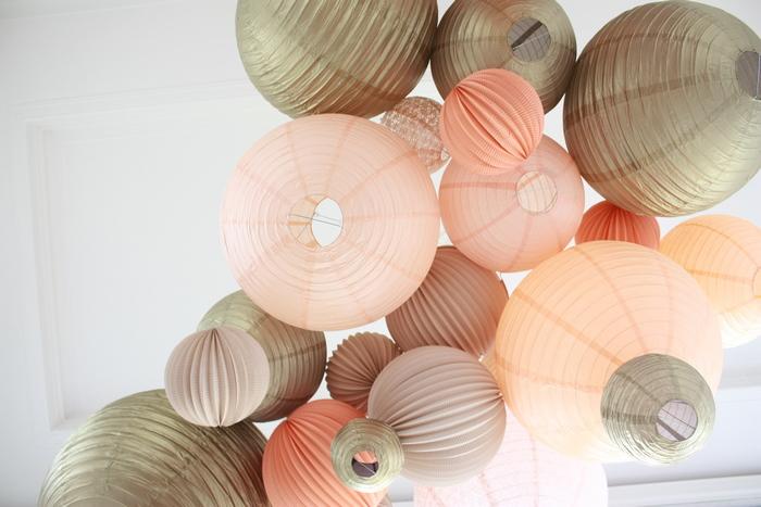 ciel de lanternes chinoises mariage pêche et gold