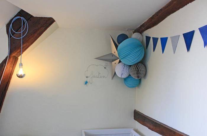 Déco d'une chambre d'enfant : garcon boule en papier bleu et gris