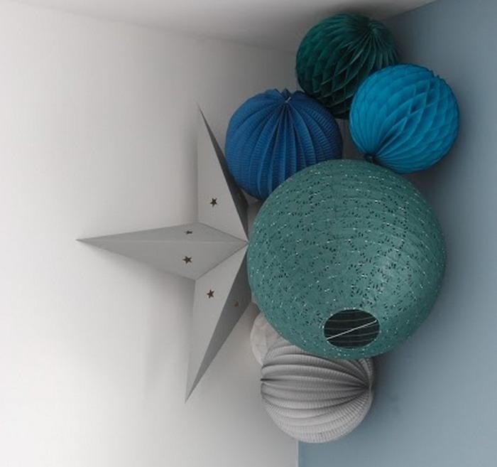 Déco chambre garcon boule papier et étoile vert, bleu et gris