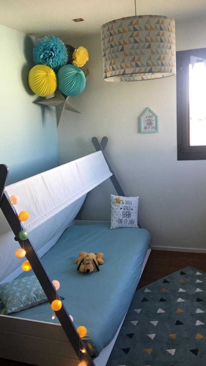 Déco Chambre Enfant Mixte Boule Papier Jaune Et Bleu