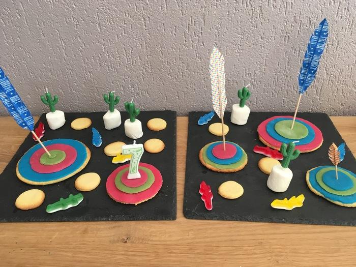 anniversaire indien - idée de gâteau cible et flèche en masking tape