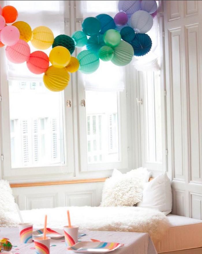 Anniversaire arc-en-ciel décoration guirlande boule en papier