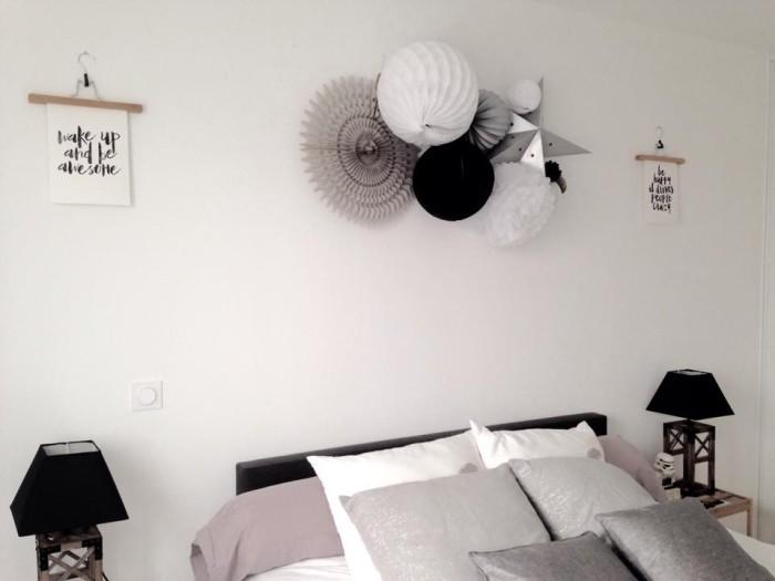 tête de lit noir et blanc pour une chambre d'enfant ou d'adolescent