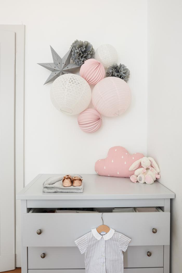 Chambre de bébé en rose et gris