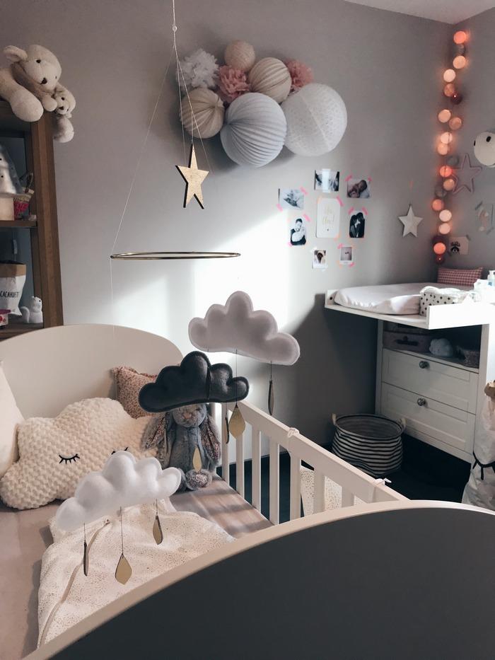 Rose pastel et gris, idée déco chambre de petite fille avec un kit de lampions