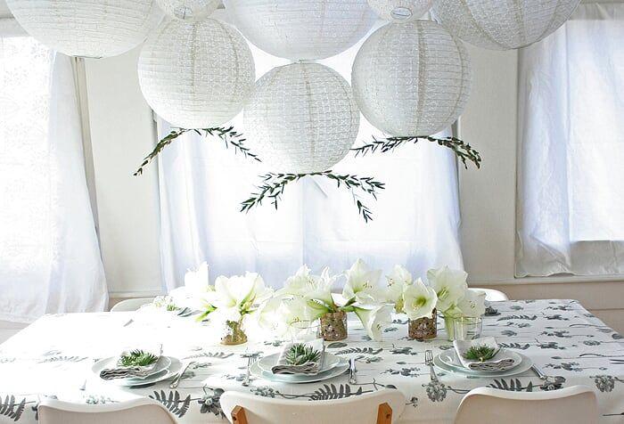 Noël blanc idée déco d'une table blanche pour Noël