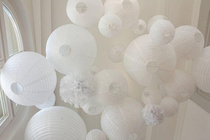 Noël blanc idée déco d'un ciel tout blanc avec des lanternes et pompons en papier