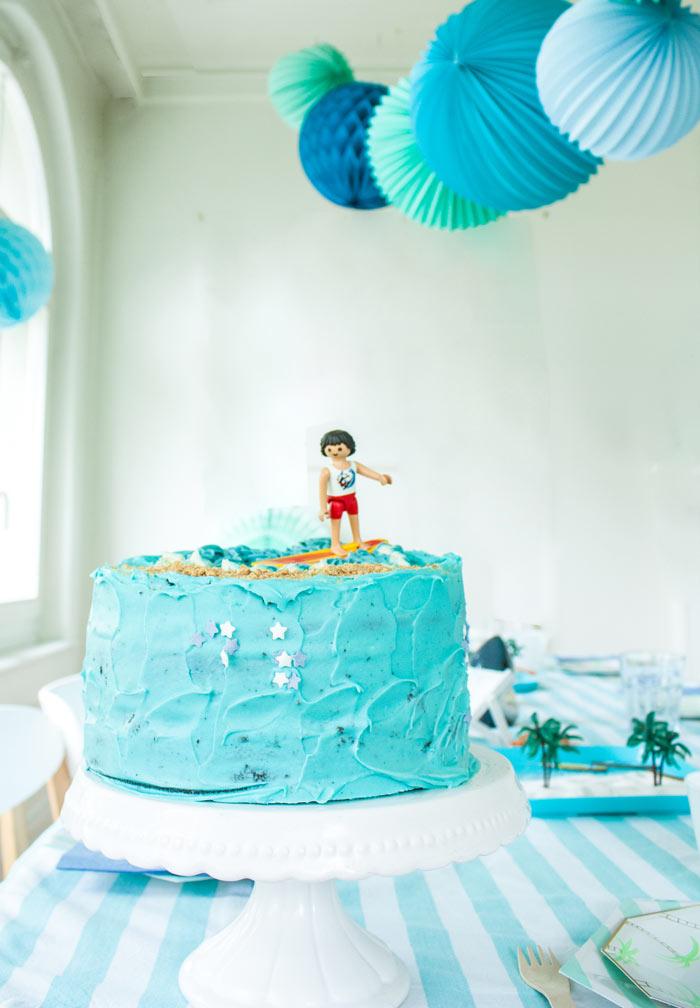 anniversaire plage et surf : gâteau d'anniversaire thème surf et mer