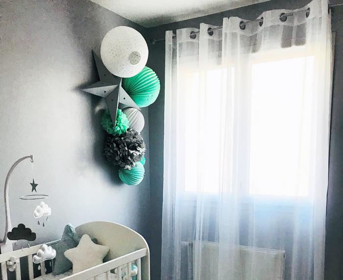 deco murale de garçon avec des lampions gris, menthe et blanc