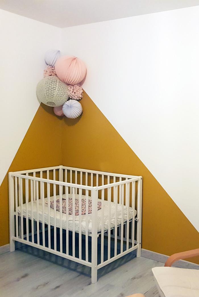 chambre de bebe moutarde et rose